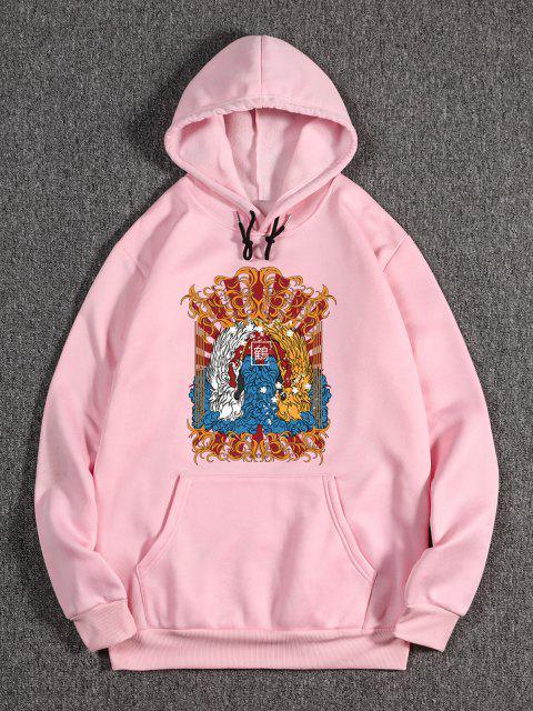 outfit Animal Print Oriental Fleece Hoodie - PIG PINK M Mobile
