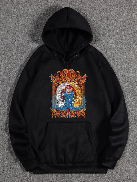 latest Animal Print Oriental Fleece Hoodie - BLACK XL Mobile