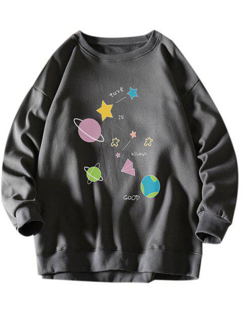 women Star Planet Slogan Print Crew Neck Sweatshirt - DARK GRAY XL Mobile