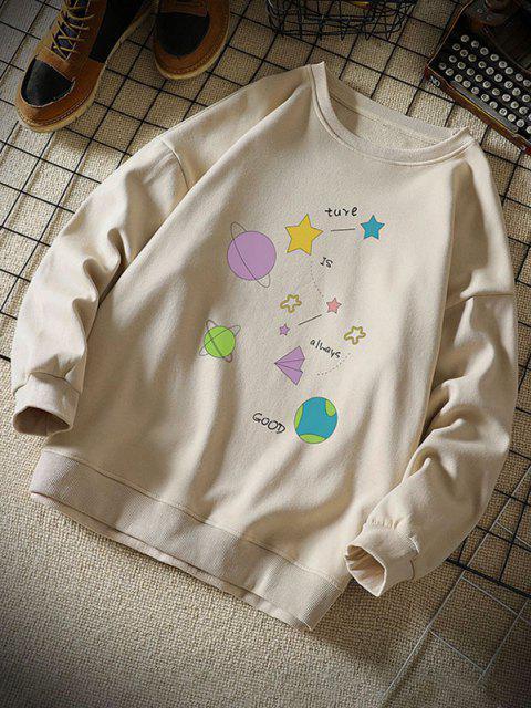 new Star Planet Slogan Print Crew Neck Sweatshirt - KHAKI 2XL Mobile