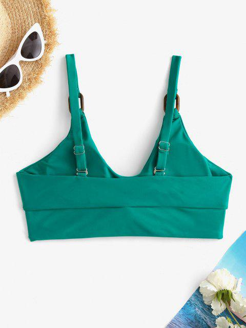 ZAFUL Rings Embellished Tied Keyhole Bikini Top - ديب غرين S Mobile