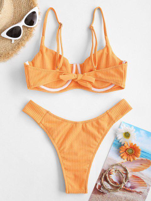 Costume da Bagno Bikini Cheeky a Costine con Ferretto di ZAFUL - Arancio M Mobile