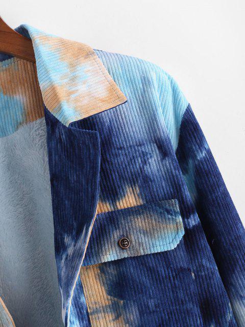 Krawattenfärbende Flauschige Gefütterte Kordjacke - Blau 2XL Mobile