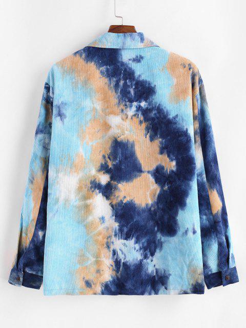 online Tie Dye Fluffy Lined Corduroy Shirt Jacket - BLUE 2XL Mobile