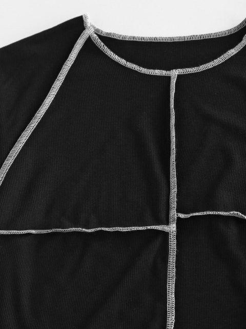 T-Shirt Asimmetrica in Tinta Unita con Collo Alto di ZAFUL - Nero XL Mobile