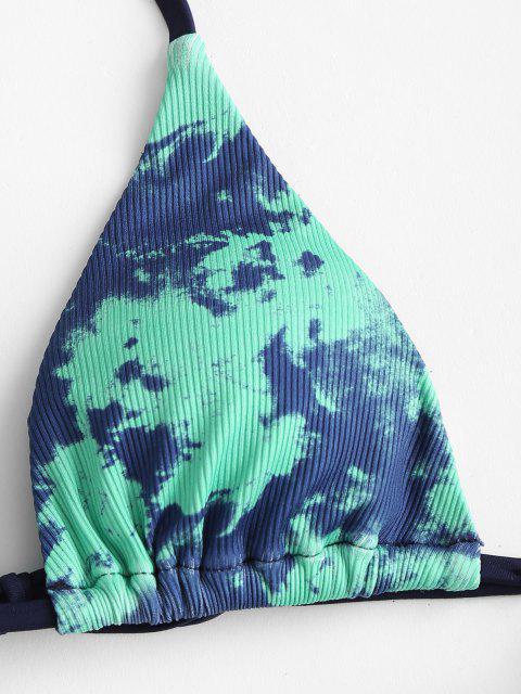 ZAFUL Tingimento de Gravata Frente Três Peças Biquíni - Verde S Mobile