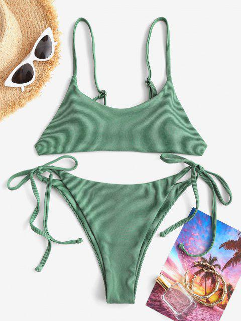ZAFUL Costume da Bagno Bikini a Righe con Nodo in Tinta Unita - Verde S Mobile