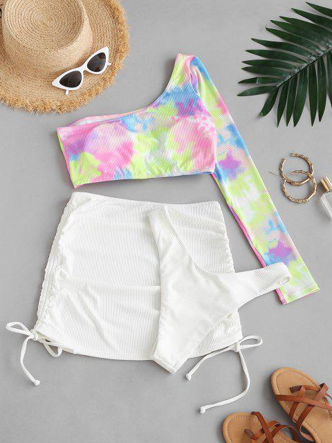 outfit ZAFUL One Shoulder Ribbed Tie Dye High Cut Three Piece Swimsuit - WHITE S Mobile