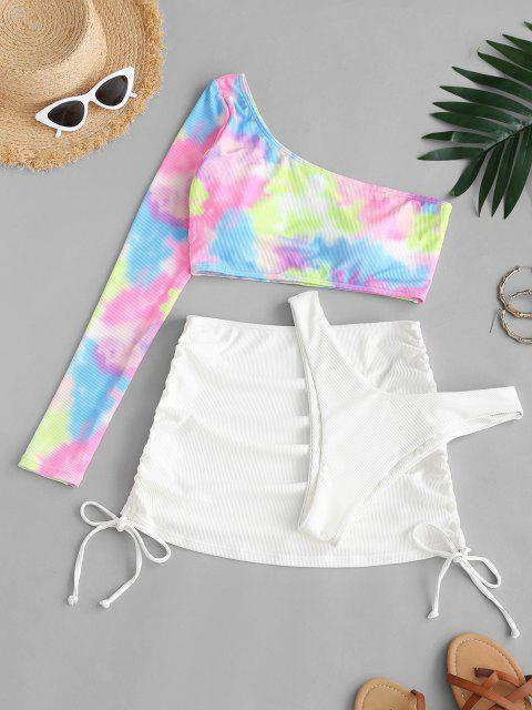 shop ZAFUL One Shoulder Ribbed Tie Dye High Cut Three Piece Swimsuit - WHITE L Mobile