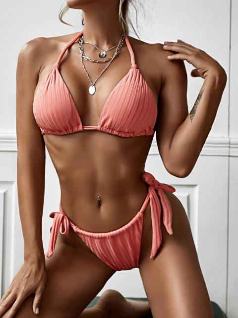 latest ZAFUL Tie Side Ribbed String Tanga Bikini Swimwear - LIGHT PINK M Mobile