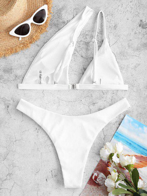 Bikini di ZAFUL a Costine a Monospalla con Taglio Alto - Bianca M Mobile