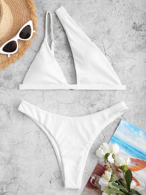 new ZAFUL High Cut One Shoulder Ribbed Bikini Swimwear - WHITE L Mobile