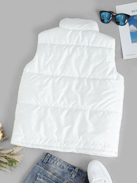 shops Quilted Pocket Button Up Gilet - WHITE XXL Mobile