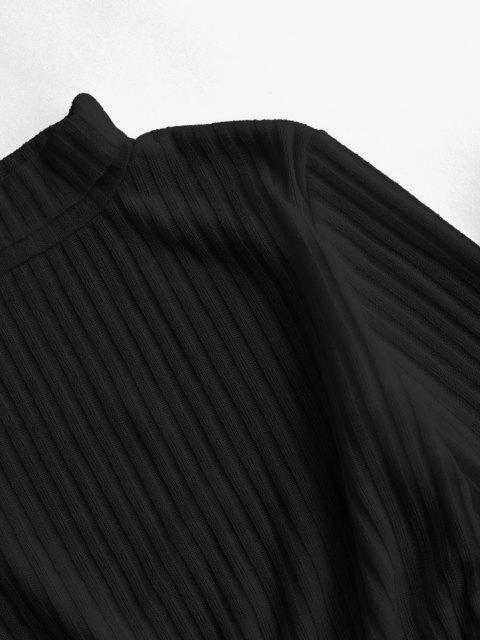 Rollkragen Rippen Strick Tailliertes Kleid - Schwarz XL Mobile
