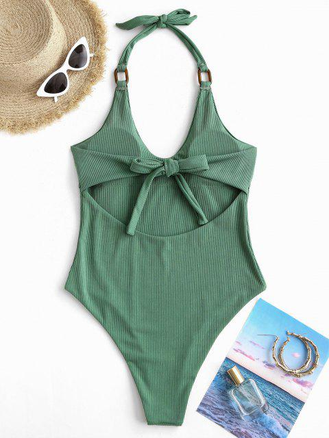 women ZAFUL Rings Ribbed Halter One-piece Swimsuit - DEEP GREEN L Mobile