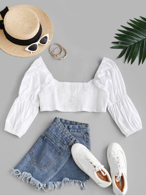 fashion Smocked Knotted Sweetheart Crop Blouse - WHITE S Mobile