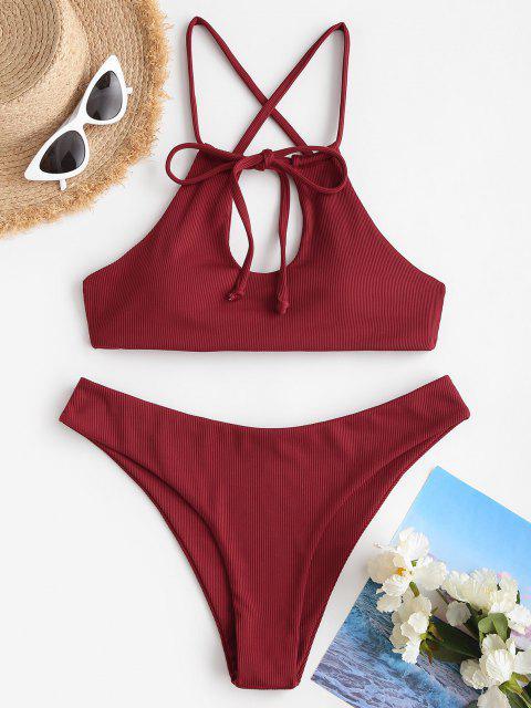 ZAFUL Costume da Bagno Bikini a Costine Incrociate a Goccia - Profondo rosso S Mobile