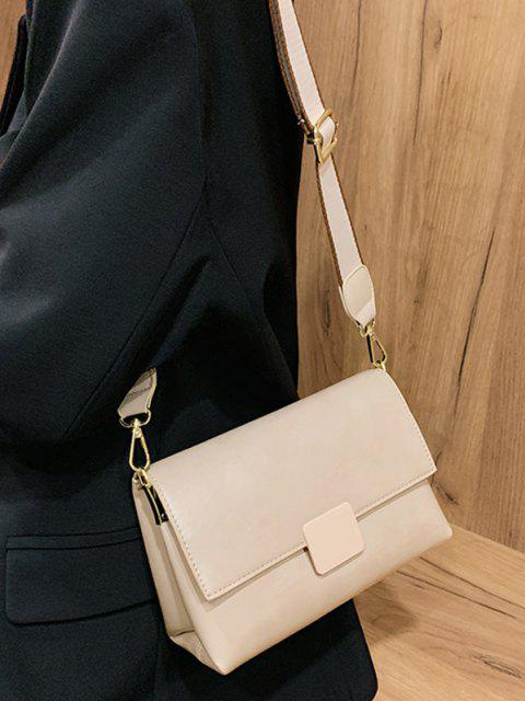 Rectangle Cover Wide Strap Crossbody Bag - أبيض  Mobile