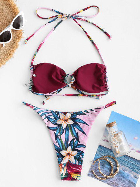 Costume da Bagno Bikini Floreale Stampato a Foglie con Coulisse di ZAFUL - Rosa chiaro S Mobile
