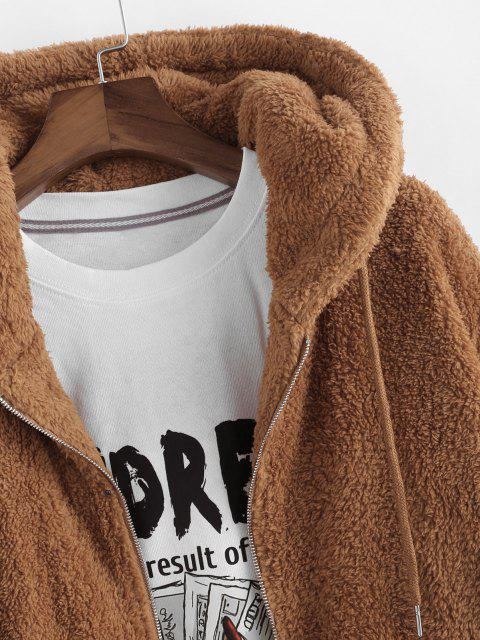 trendy Hooded Faux Fur Fluffy Jacket - COFFEE XL Mobile