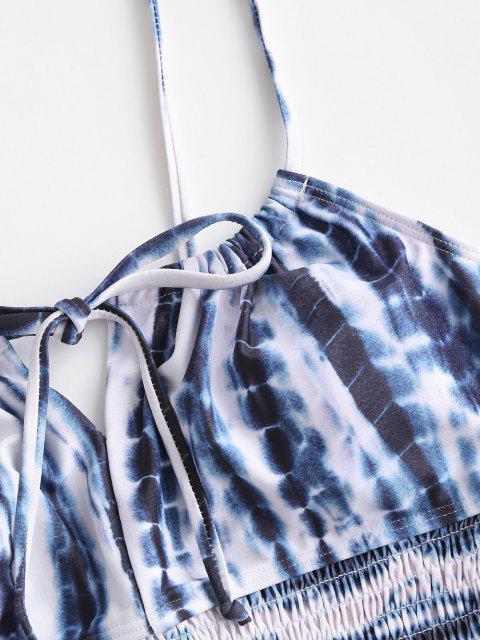ZAFUL Tankini de Corte Alto con Detalle Escalera - Azul de Medianoche L Mobile
