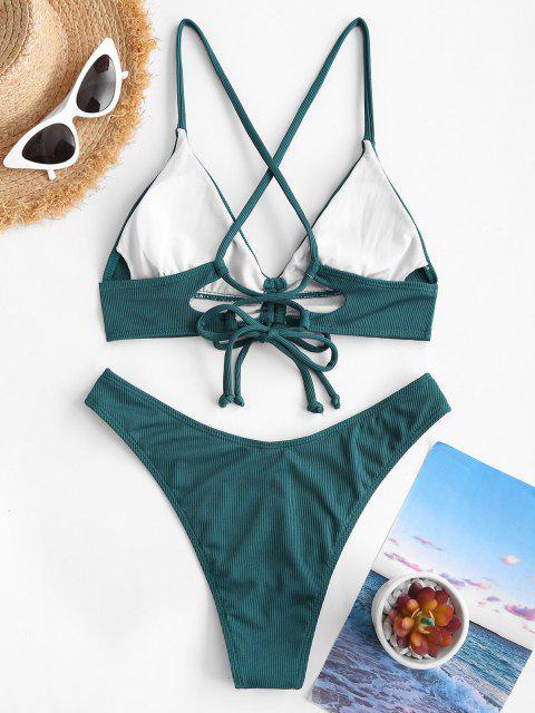 shop ZAFUL Ribbed Cinched Lace Up Brazilian Bikini Swimwear - DEEP GREEN M Mobile
