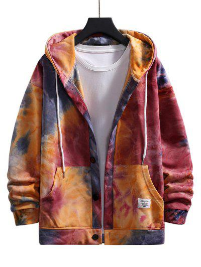 Tie Dye Drop Shoulder Hooded Jacket - Red L