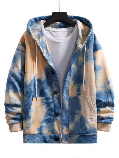 Tie Dye Drop Shoulder Hooded Jacket - Light Blue M