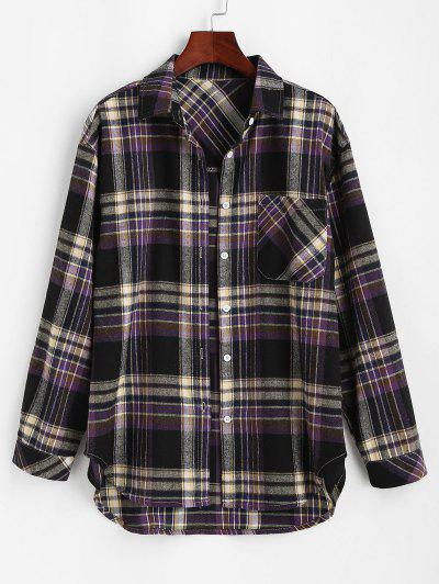 Front Pocket Plaid Tartan Flannel Shirt - Black M