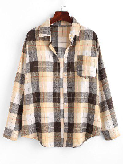 Plaid Boyfriend Shirt - Light Coffee L