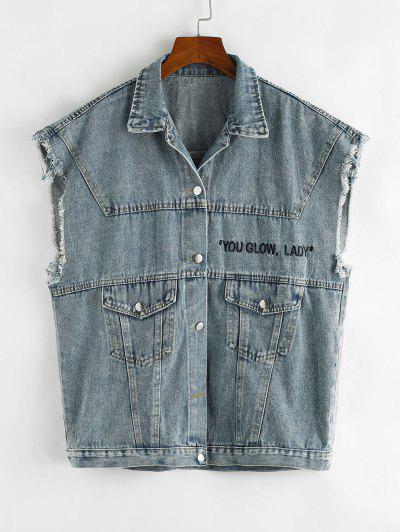 YOU GLOW Embroidered Frayed Denim Waistcoat - Light Blue