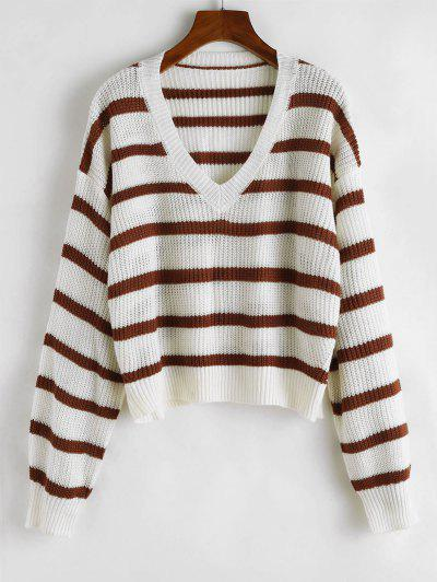 V Neck Stripe Cropped Sweater - White L