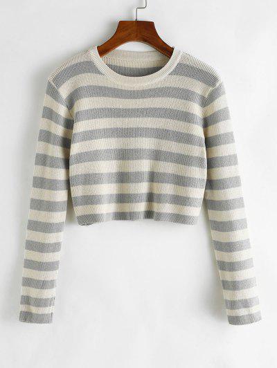Two Tone Striped Crop Jumper Sweater - Dark Gray