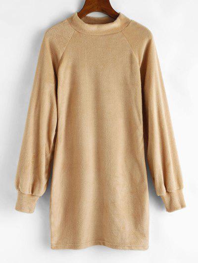 Mock Neck Fuzzy Sheath Dress - Light Coffee S