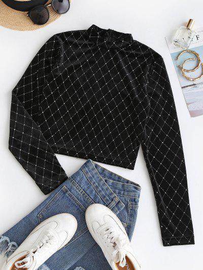Sparkly Rhombus Velvet Crop T Shirt - Black M