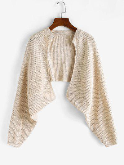 Batwing Sleeve Cropped Cardigan - Light Coffee