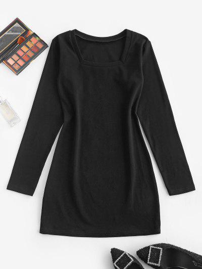 Long Sleeve Casual Bodycon Tee Dress - Black M