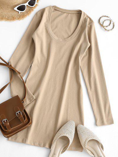 Long Sleeve Scoop Neck Mini Sheath Dress - Light Coffee S