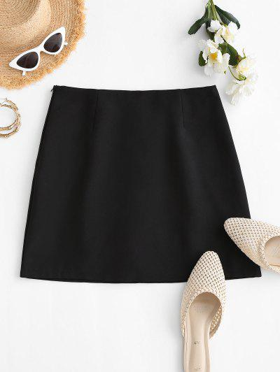 Plain Side Zipper Office Mini Skirt - Black L