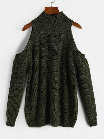 High Neck Cold Shoulder Sweater - Deep Green