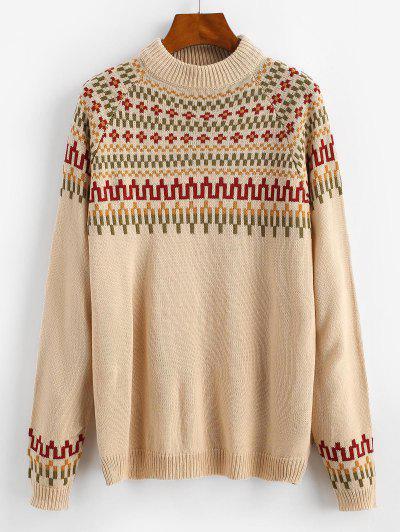 Raglan Sleeve Mock Neck Geo Sweater - Light Coffee L