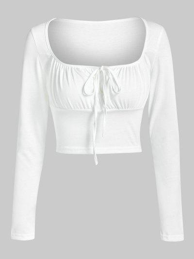 ZAFUL Camiseta Corta Acanalada De Ojo De Cerradura - Blanco S