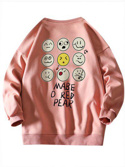 Funny Cartoon Face Letter Print Drop Shoulder Sweatshirt - Pink 3xl