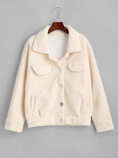 Flap Detail Pocket Teddy Coat - White Xl