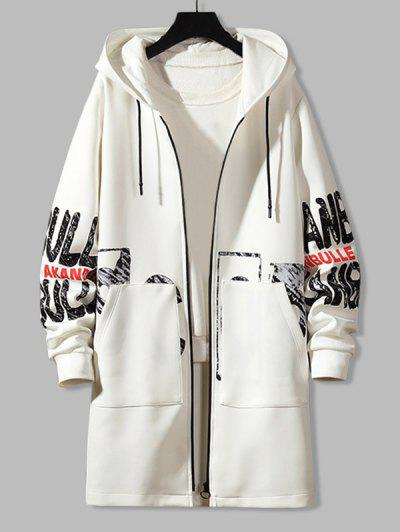 Hooded Double Pockets Letter Print Coat - White Xl
