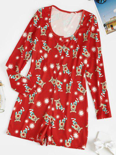 Christmas Snap Button Funny Print Pajama Romper - Red S