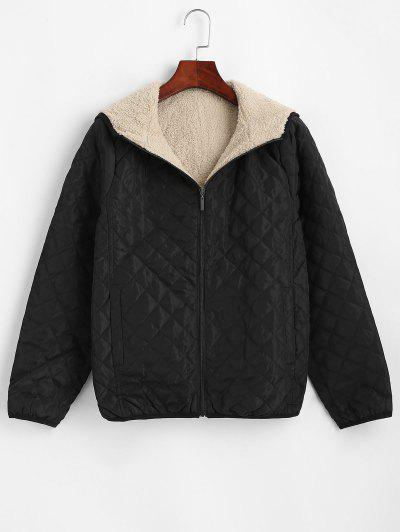 Hooded Pockets Fleece Lined Quilted Coat - Black M