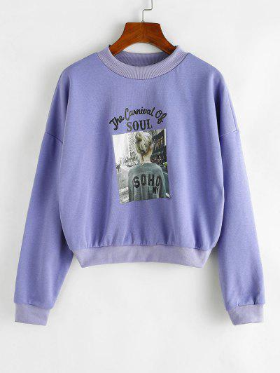 Letter Girl Graphic Drop Shoulder Sweatshirt - Purple Xl