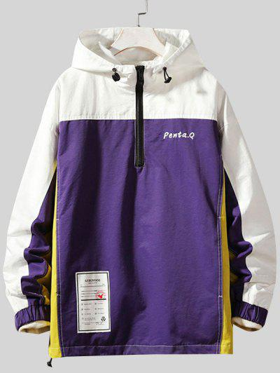 Colorblock Stitching Embroidery Patch Pullover Hooded Jacket - Purple 2xl