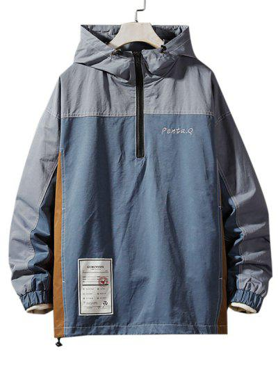 Colorblock Stitching Embroidery Patch Pullover Hooded Jacket - Light Blue L
